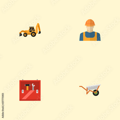 Set of industry icons flat style symbols with builder, wheelbarrow, tractor backhoe loader and other icons for your web mobile app logo design. Wall mural