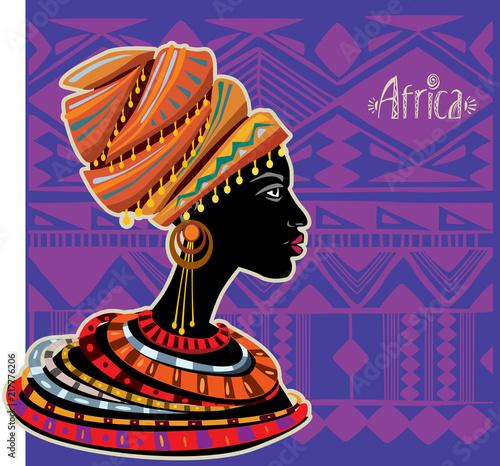 Fototapeta Portrait of African Woman in Ethnic Turban obraz