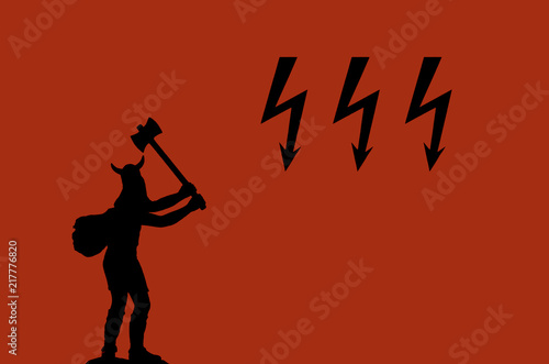 Photographie  Black silhouette of attacking Viking with a double-sided ax and three black ligh