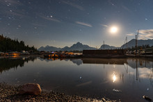 Colter Bay Marina By Moonlight