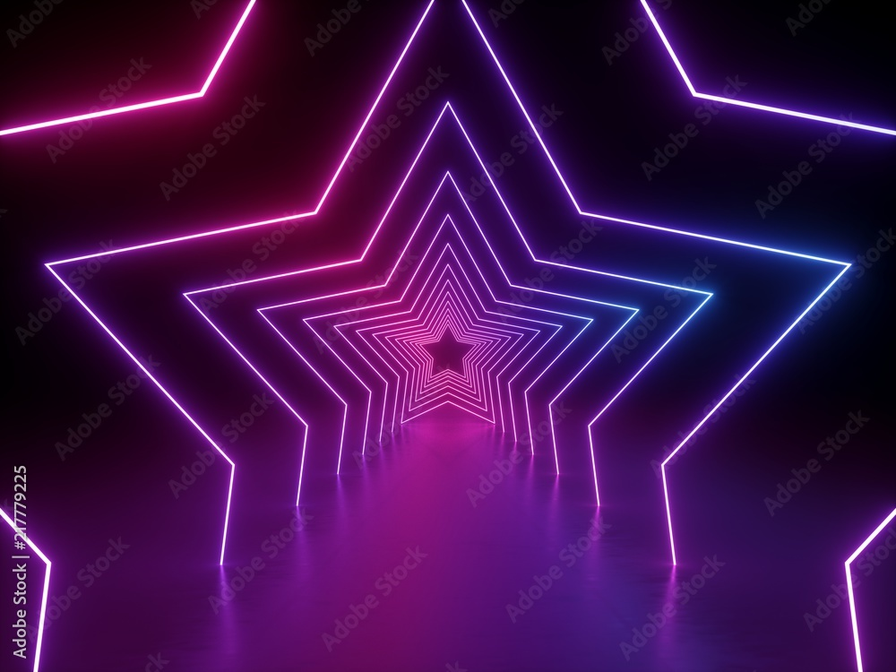 Fototapeta 3d render, ultraviolet neon star shape, glowing lines, portal, tunnel, virtual reality, abstract fashion background, violet neon lights, arch, pink blue spectrum vibrant colors, laser show - obraz na płótnie