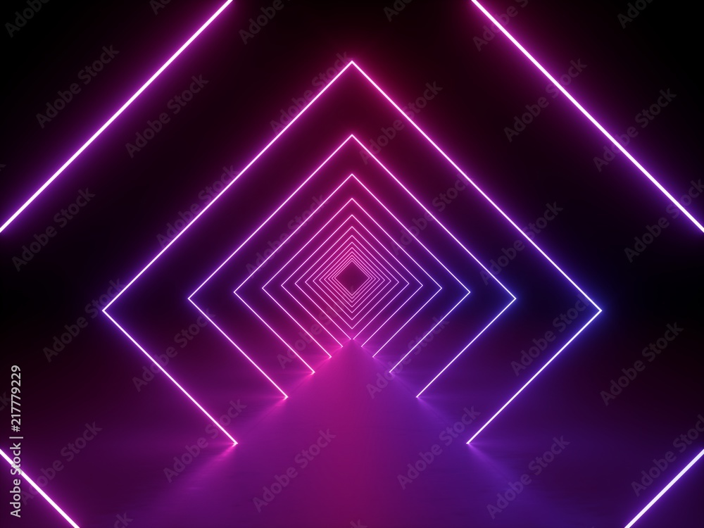 Fototapeta 3d render, ultraviolet neon square portal, glowing lines, tunnel, corridor, virtual reality, abstract fashion background, violet neon lights, arch, pink purple vibrant colors, laser show