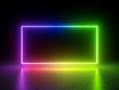 Leinwanddruck Bild - 3d render, vibrant rainbow colors, laser show, glowing spectrum rectangle, blank frame, neon lights, abstract psychedelic background, ultraviolet, led screen