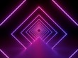 canvas print picture - 3d render, ultraviolet neon square portal, glowing lines, tunnel, corridor, virtual reality, abstract fashion background, violet neon lights, arch, pink purple vibrant colors, laser show
