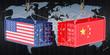 China USA trade and tariffs war, concept. 3d rendering