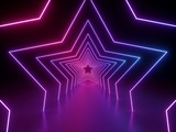 Fototapeta Perspektywa 3d - 3d render, ultraviolet neon star shape, glowing lines, portal, tunnel, virtual reality, abstract fashion background, violet neon lights, arch, pink blue spectrum vibrant colors, laser show