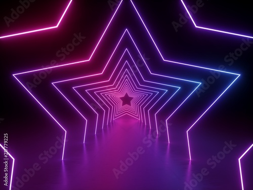Fototapeta 3d render, ultraviolet neon star shape, glowing lines, portal, tunnel, virtual reality, abstract fashion background, violet neon lights, arch, pink blue spectrum vibrant colors, laser show obraz na płótnie