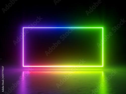 3d render, vibrant rainbow colors, laser show, glowing spectrum rectangle, blank Canvas Print