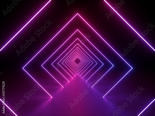 Fototapeta 3d render, ultraviolet neon square portal, glowing lines, tunnel, corridor, virtual reality, abstract fashion background, violet neon lights, arch, pink purple vibrant colors, laser show obraz na płótnie