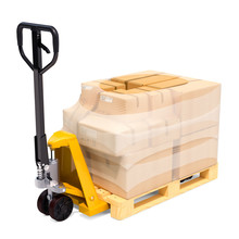 Pallet Truck With Parcels Wrapped In The Stretch Film, 3D Rendering