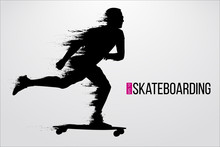 Silhouette Of A Skateboarder. ...