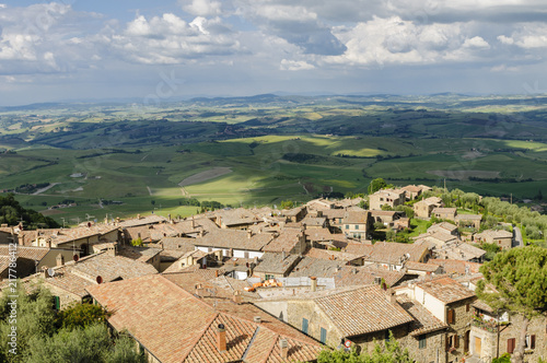 Panorama of Montalcino and Tuscany landscape, Italy, Europe