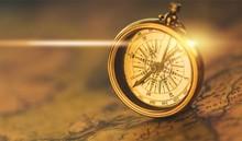 Brass Antique Compass On Backg...