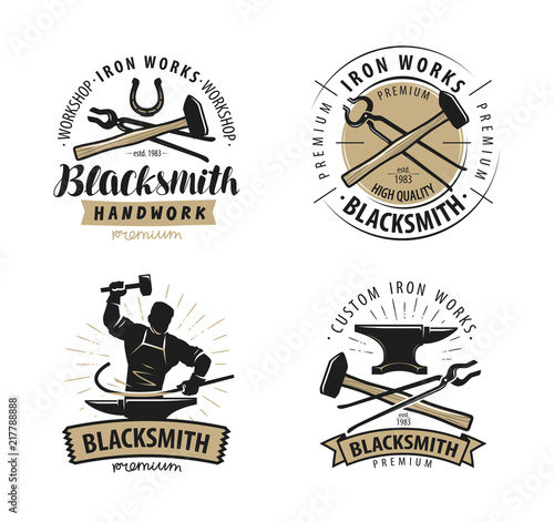 Cuadros en Lienzo Blacksmith, forge logo or label