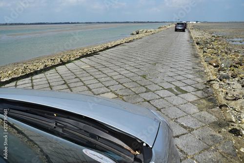 Cuadros en Lienzo Ile de Noirmoutier, Vendée, pays de la Loire, France : chaussée pavée du passage du Gois à marée basse