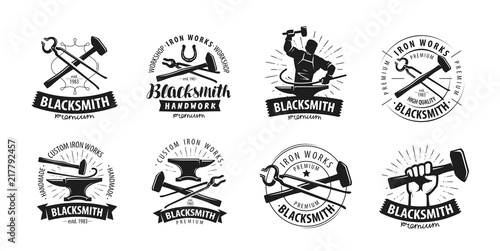 Fotografia Forge, blacksmith logo or label. Blacksmithing set of icons