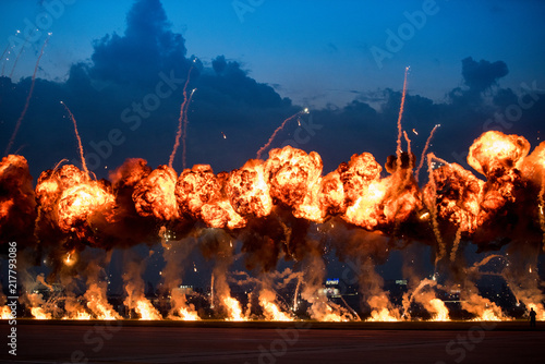 фотография  Airshow demonstrations with high explosive fire blasts