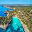 Aerial view of sandy beach with people, boats, azure transparent sea, rocks with green trees, blue sky at sunny day in summer in Mallorca, Spain. Panoramic landscape with coast, yacht, forest. Travel