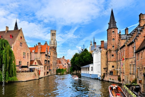 Poster Brugge View of the medieval canals of Bruges, Belgium with famous bell tower