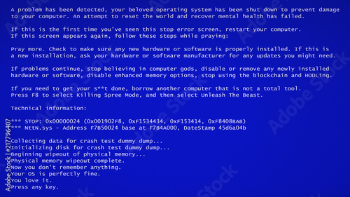 A Funny Fake Bsod Blue Screen Of Death Failure Message