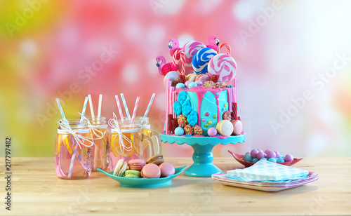 On-trend candyland fantasy drip cake for children's, teen's birthday, anniverary, mother's day and valentine's day celebrations Fotobehang