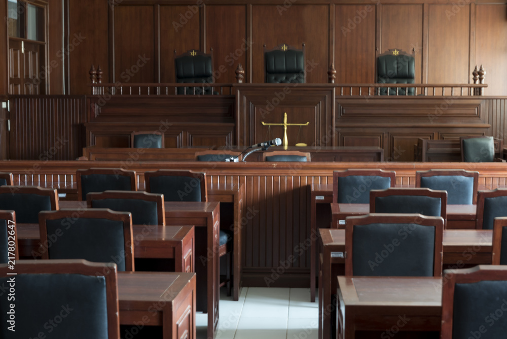 Fototapety, obrazy: Table and chair in the courtroom of the judiciary.