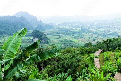 Deurstickers Groene Mountain in the rainy season