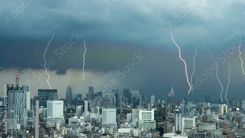 Fotomural 雷・ゲリラ豪雨・東京