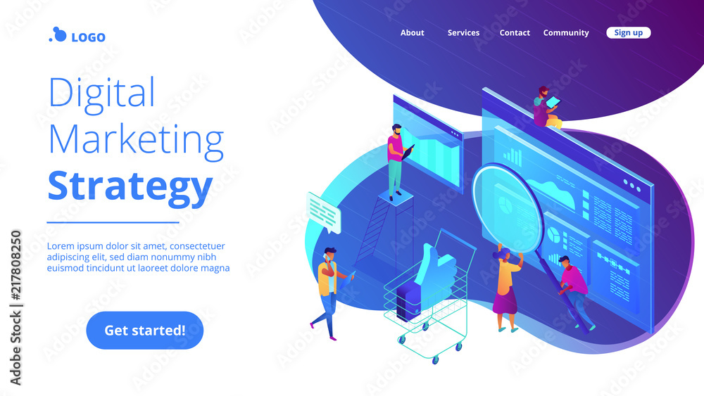 Fototapety, obrazy: Isometric team of specialists working on digital marketing strategy landing page. Digital marketing, digital technologies concept. Blue violet background. Vector 3d isometric illustration.