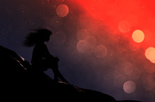 Girl Sitting Alone In Starry Night,3d Illustration Conceptual Background