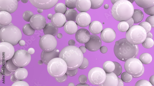 White spheres of random size on purple background