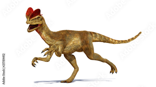 Obraz na plátně  Dilophosaurus, theropod dinosaur from the Early Jurassic period (3d render isola