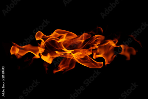 Fire flames on black background Canvas Print