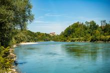 Scenic View Of The Salzach Riv...