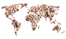 Coffee World Map With Continen...