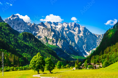 Obraz View on mountains by Logar Valley in the slovenian Alps - fototapety do salonu
