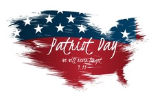 Creative Illustration,poster Or Banner Of Patriot Day With USA Map As Flag Background.