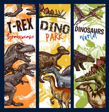 Dinosaur Park Banner With Jurassic Animal Sketch