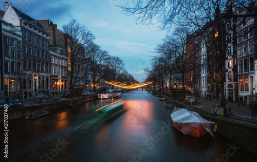 Light object above the Herengracht canal during the Light Festival in Amsterdam