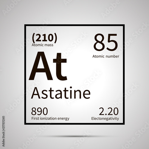 Photo Astatine chemical element with first ionization energy, atomic mass and electron