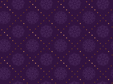 Gold And Violet Snowflakes Luxury Seamless Pattern