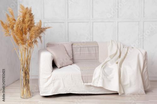 Remarkable Scandinavian Style Livingroom With Fabric Sofa Pillows Dailytribune Chair Design For Home Dailytribuneorg