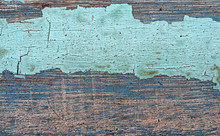 Old Wood Texture With Cracked Peeling Paint, Grunge Background