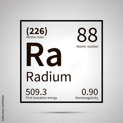 Radium chemical element with first ionization energy, atomic mass and electroneg Canvas Print