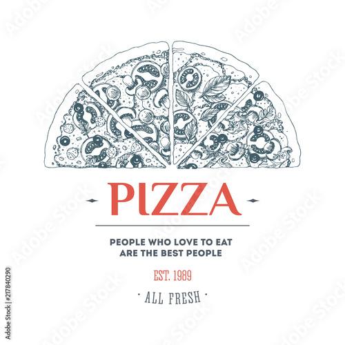 Szablon projektu pizzy. Ilustracji wektorowych