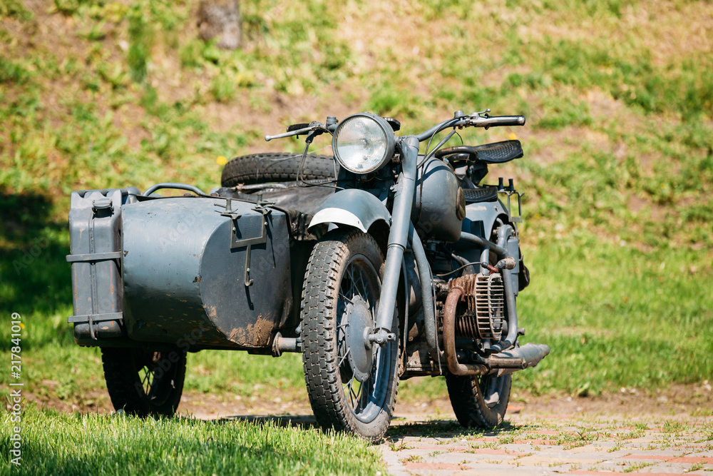 Fototapeta Old Rarity Tricar, Three-Wheeled Gray Motorcycle With A Sidecar