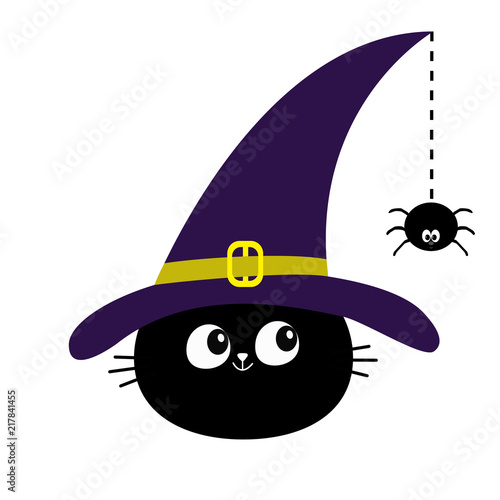 Black Cat Head Face Silhouette Looking To Hanging On Dash Line Web Spider Insect Witch Hat Happy Halloween Cute Cartoon Character Baby Pet Animal Collection Flat Design White Background Buy This