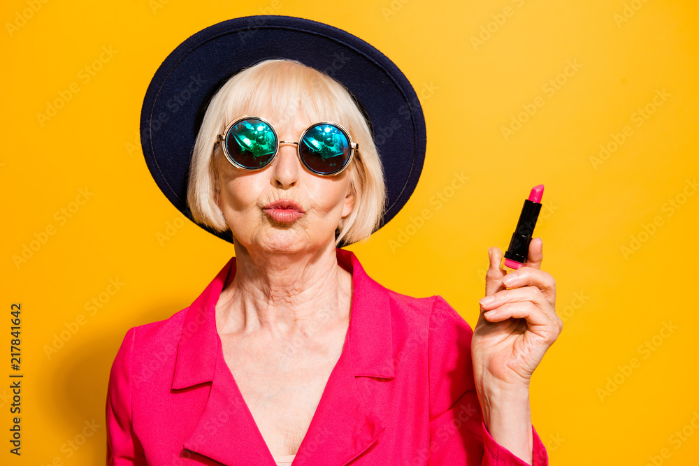 Fototapety, obrazy: Grandmother getting ready for date! Charming, attractive old wom