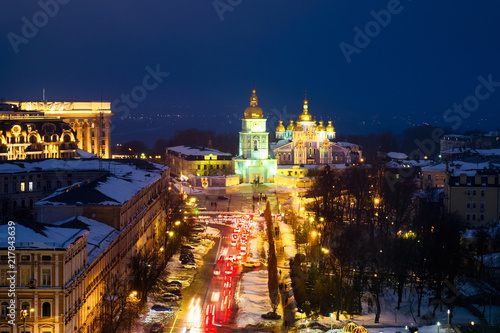 Foto auf AluDibond Berlin Kyiv, Ukraine, with a view of the St Michaels Golden - Domed Monastery and traffic