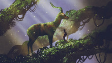 Young Hiker Found Giant Deer Statue Covered With Moss And Lichen While Traveling In The Forest, Digital Art Style, Illustration Painting